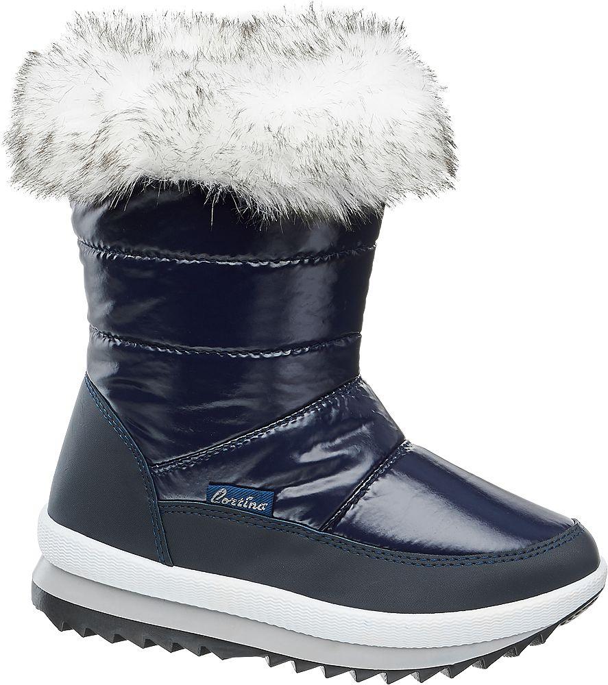 granatowe śniegowce dziewczęce Cortina z białym futerkiem