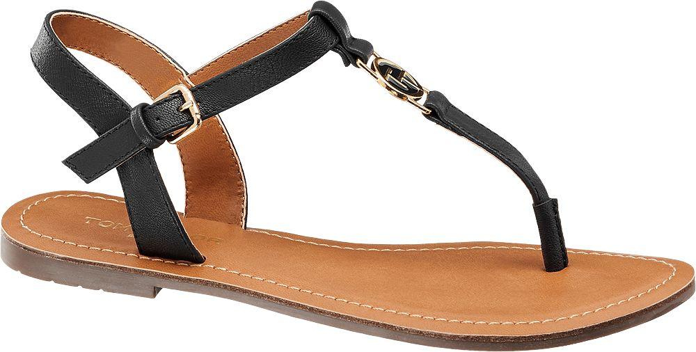 granatowe płaskie sandały damskie Tom Tailor