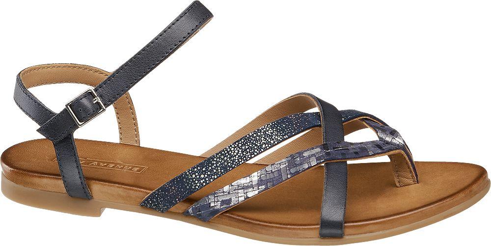 granatowe płaskie sandały damskie 5th Avenue