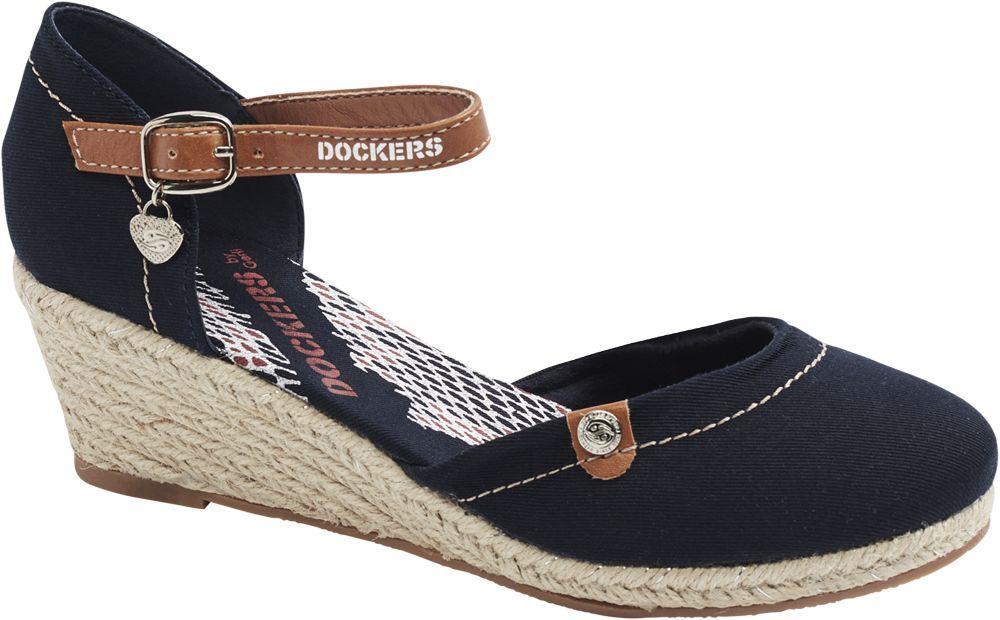 granatowe sandały damskie Dockers na koturnie