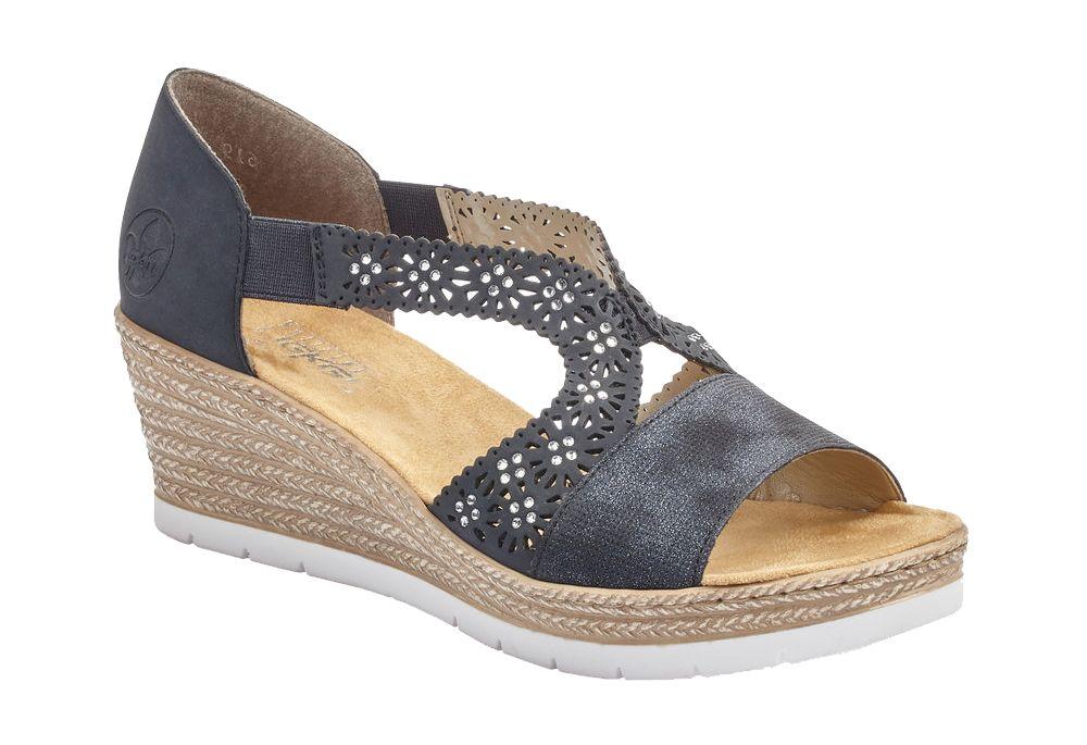 granatowe sandały damskie Rieker na koturnie