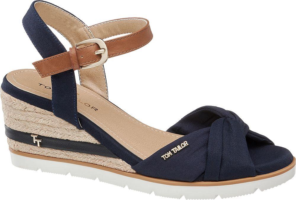 granatowe sandały damskie Tom Tailor na koturnie