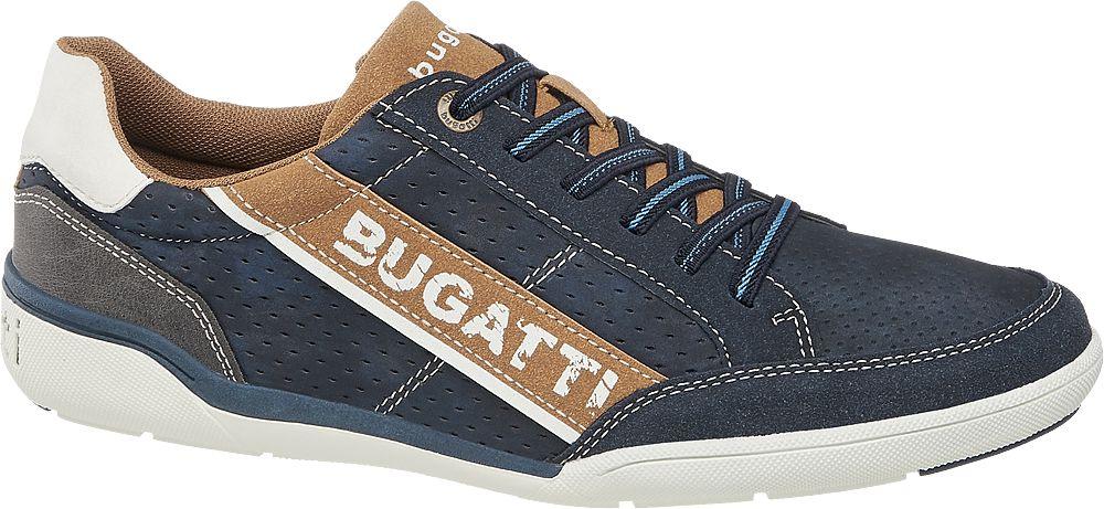 granatowe sneakersy męskie Bugatti z brązowymi elementami