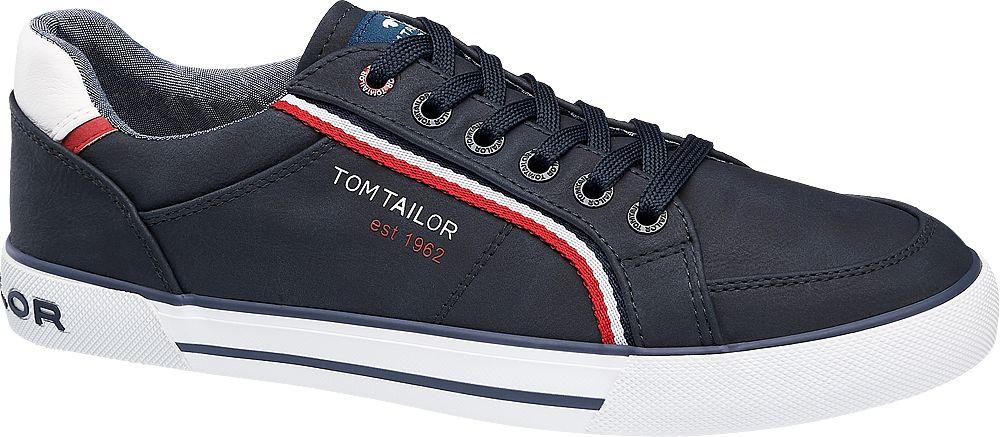 granatowe sneakersy męskie Tom Tailor z czerwonym akcentem