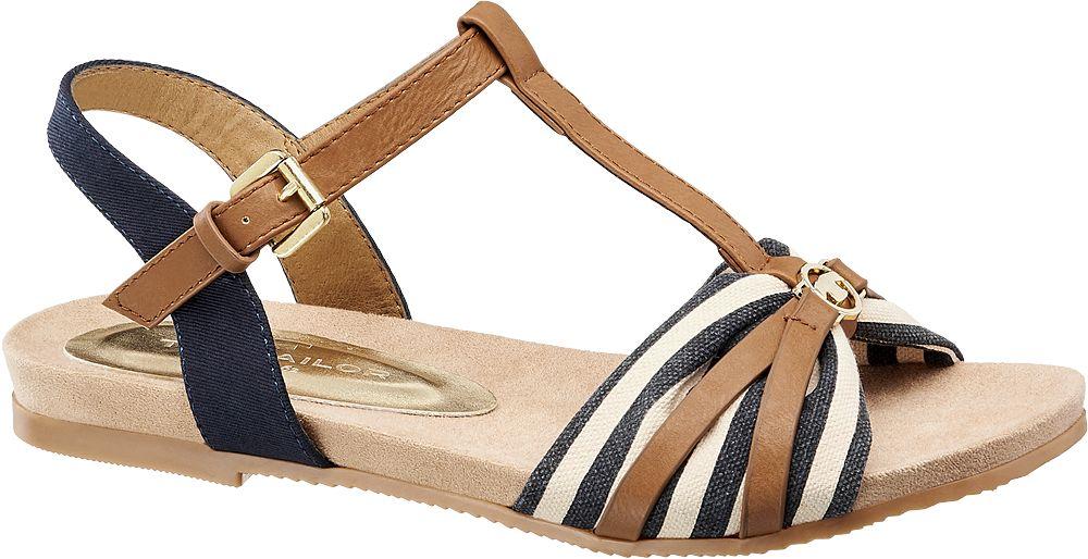 granatowo-brązowe sandały damskie Tom Tailor