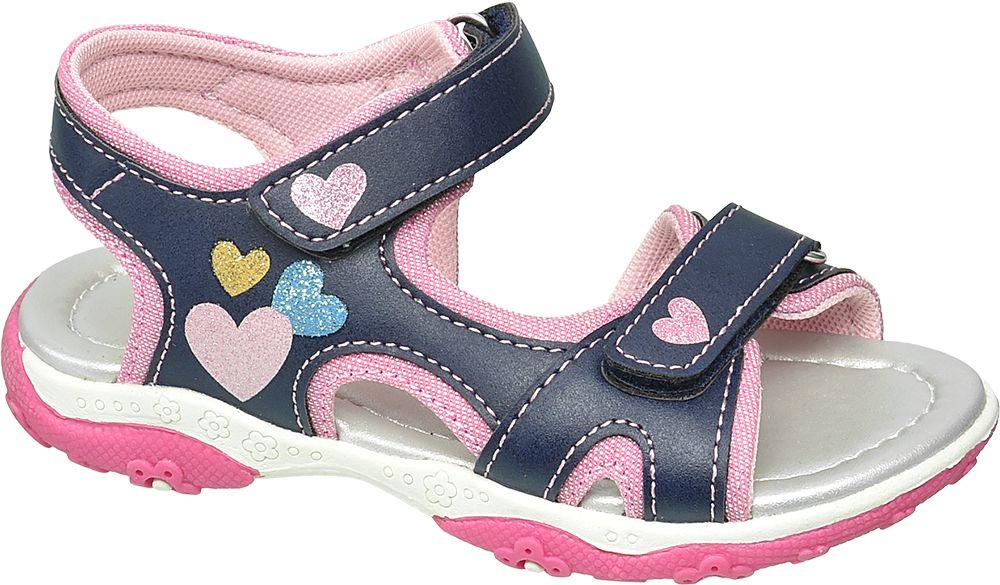 granatowo-różowe sandały dziewczęce Cupcake Couture zapinane na rzepy