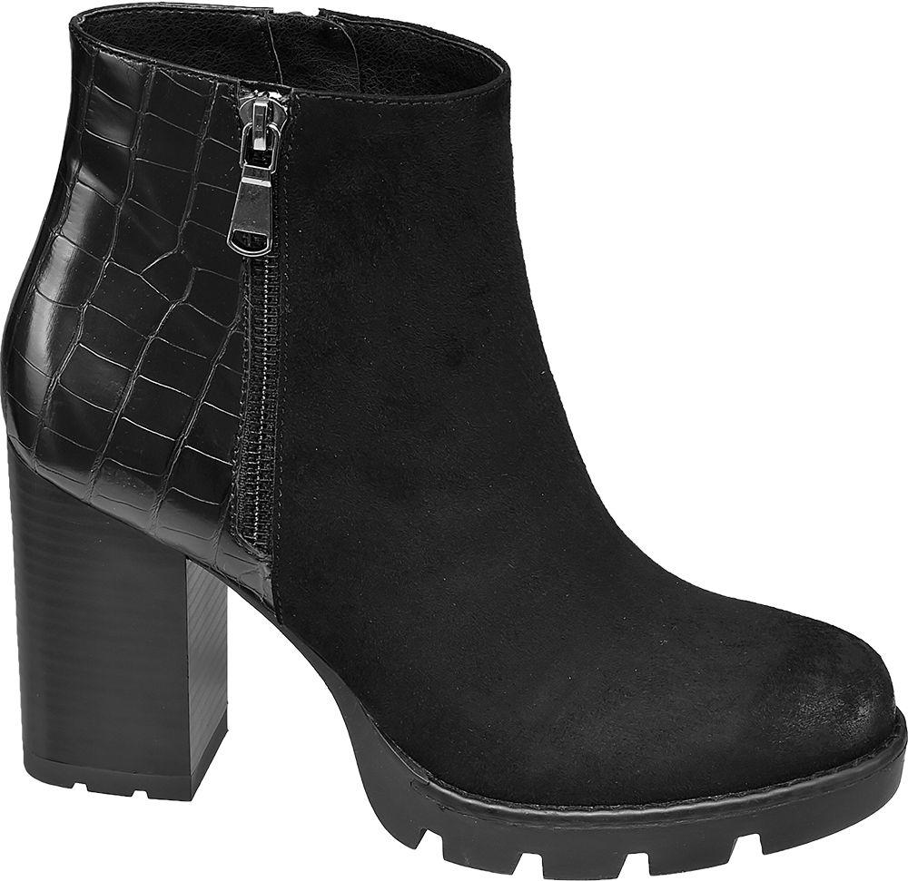 Catwalk - Čierne členkové čižmy so zvieracím vzorom Catwalk