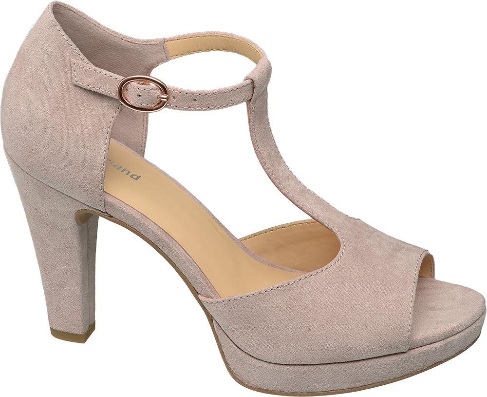 jasnoróżowe sandałki damskie Graceland na obcasie