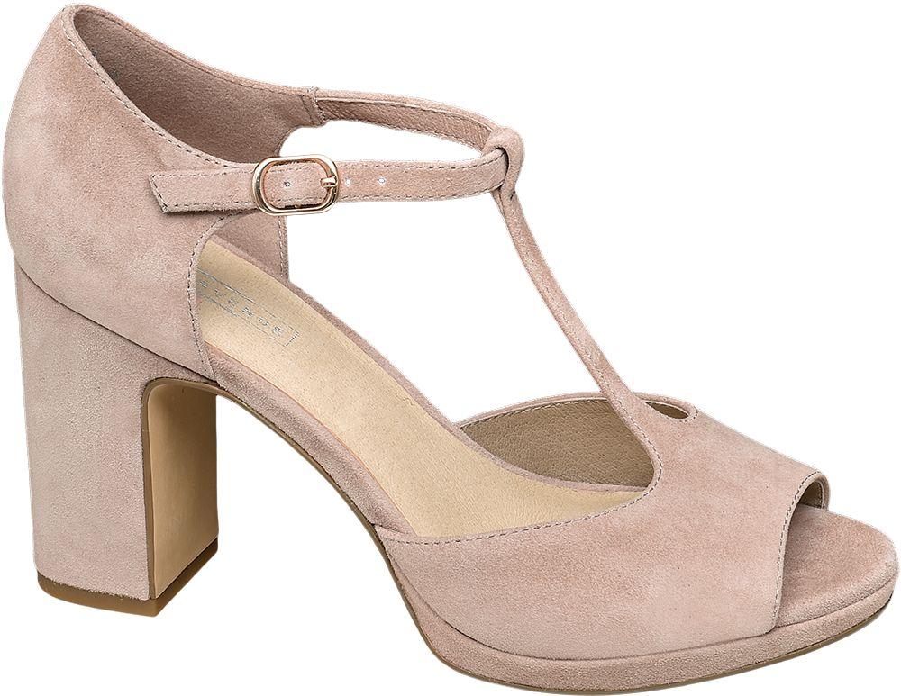jasnoróżowe sandałki damskie 5th Avenue na blokowym obcasie