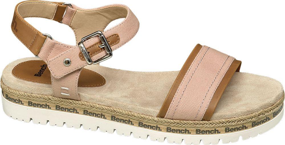 jasnoróżowe sandały damskie Bench na białej podeszwie