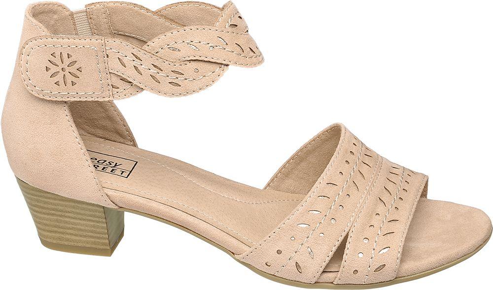 jasnoróżowe sandały damskie Easy Street z paseczkiem wokół kostki