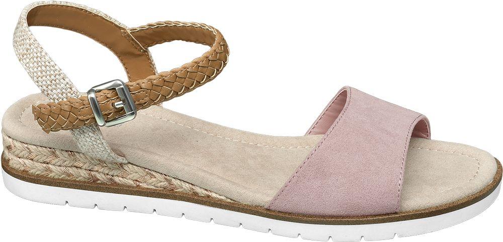 jasnoróżowe sandały damskie Graceland z paseczkiem