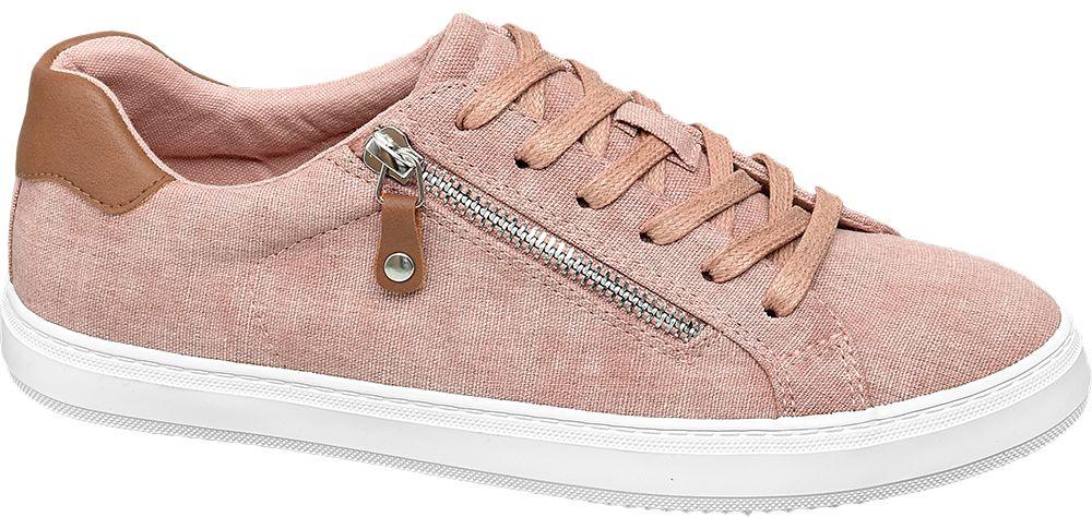 jasnoróżowe sneakersy damskie Graceland na białej podeszwie