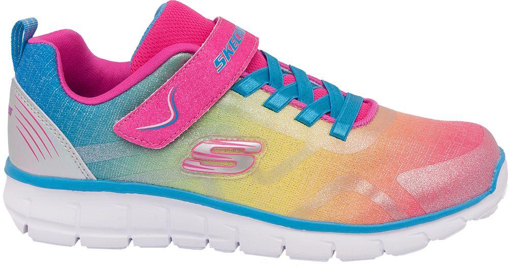 kolorowe sneakersy dziewczęce Skechers z zapięciem na rzep