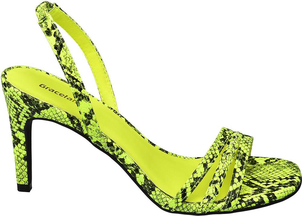 Graceland - Žlté sandále na podpätku Graceland so zvieracím vzorom