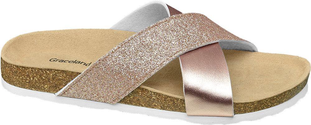 metaliczne klapki damskie Graceland z krzyżującymi się paskami