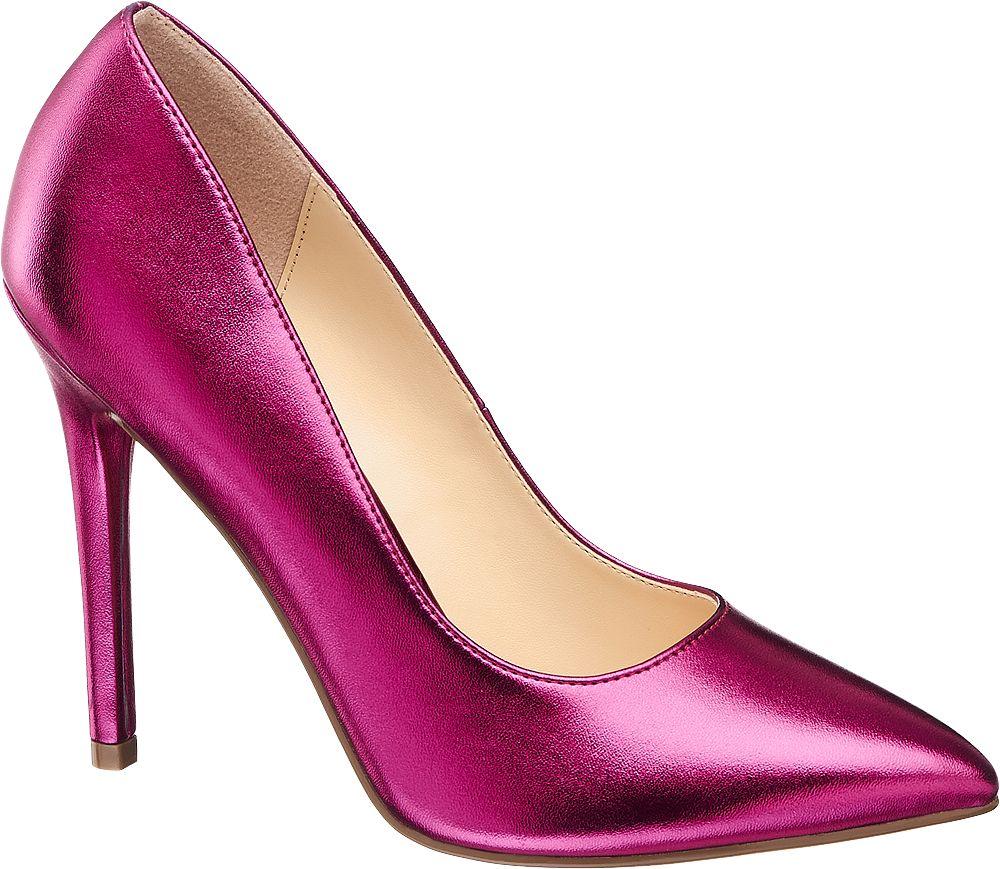 metaliczne szpilki damskie Catwalk w kolorze różowym