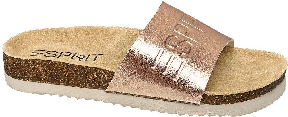 modne klapki damskie Esprit w kolorze różowego złota