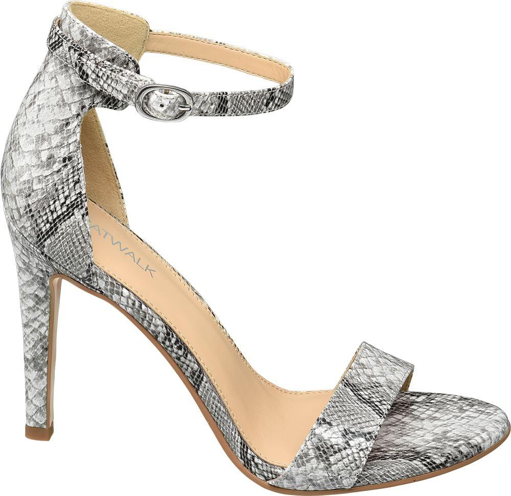 modne sandałki Catwalk na obcasie w wężowy wzór