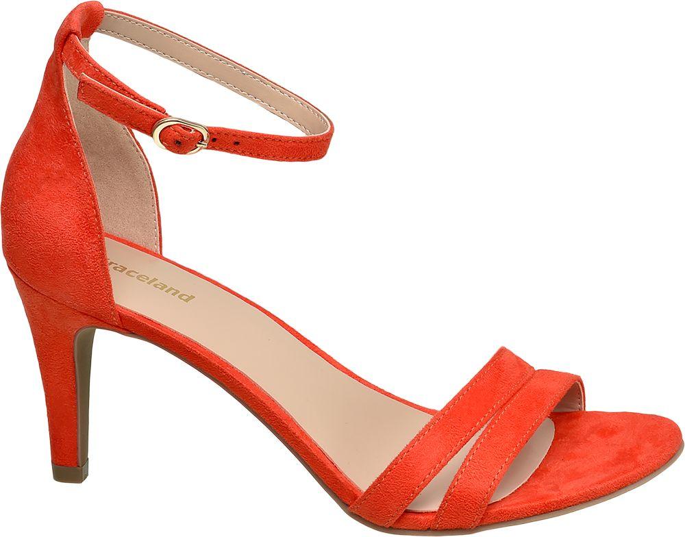 modne sandałki Graceland na szpilce w kolorze pomarańczowym