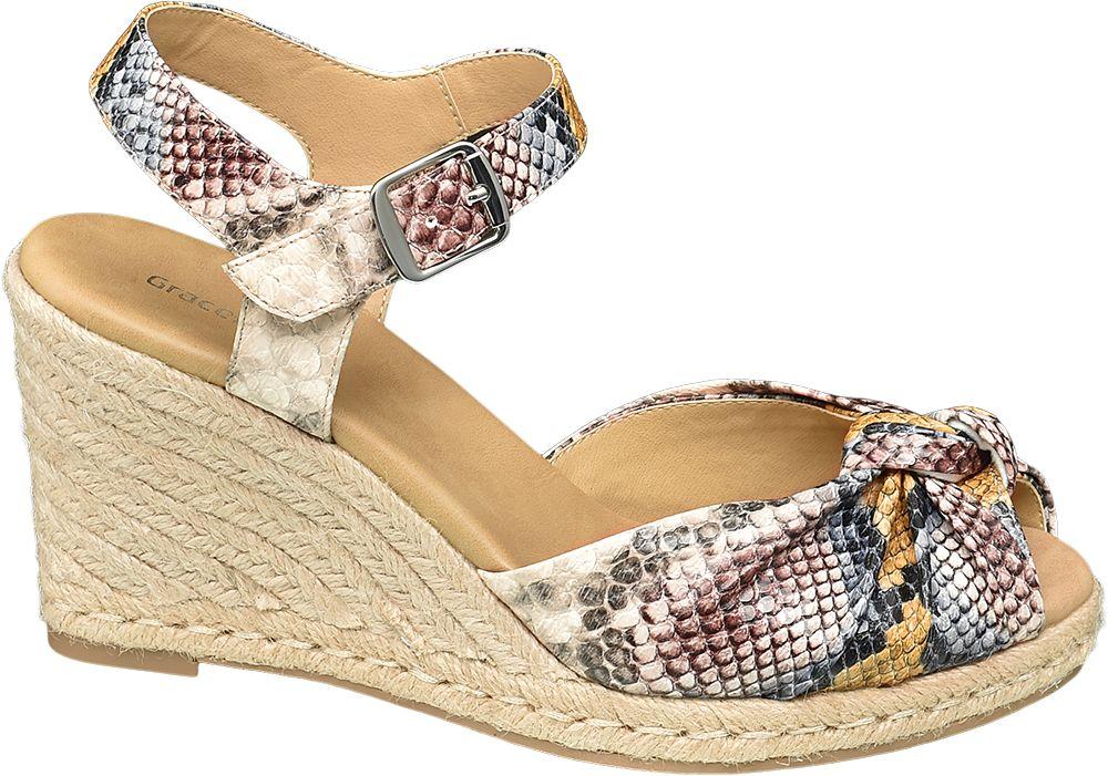 modne sandały damskie Graceland na koturnie
