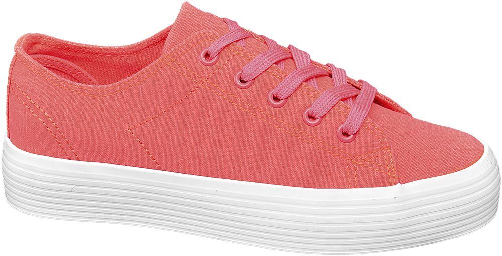 neonowo-różowe tenisówki damskie Vty na białej podeszwie