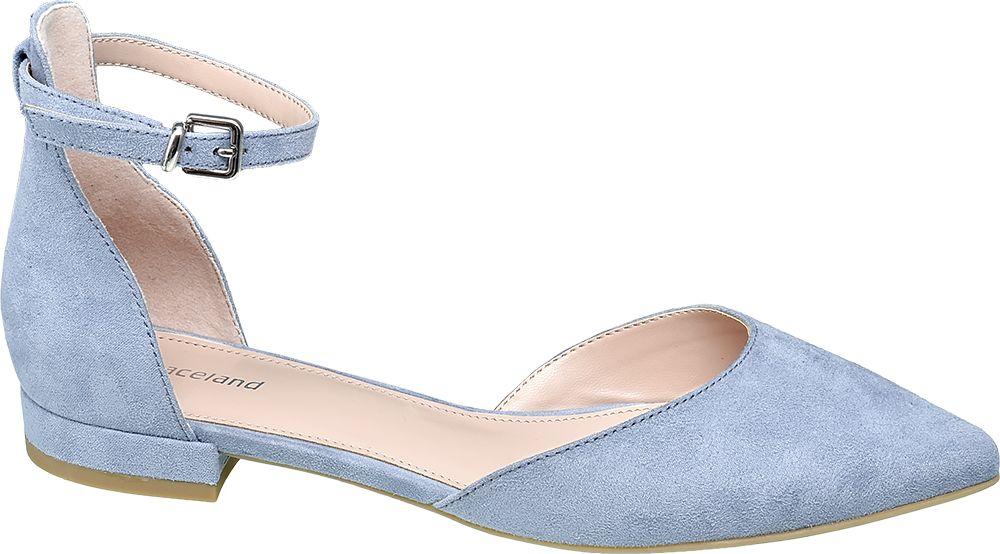 niebieskie baleriny damskie Graceland zapinane na paseczek