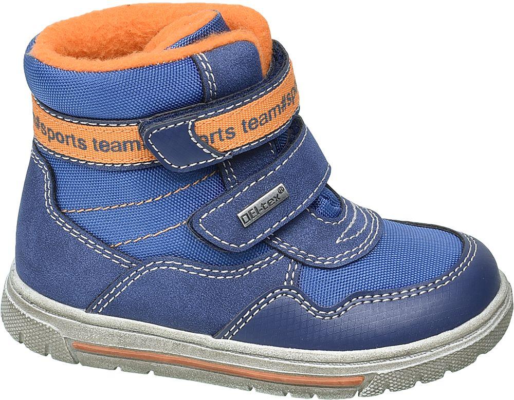 niebieskie kozaczki dziecięce Cortina z pomarańczowymi akcentami