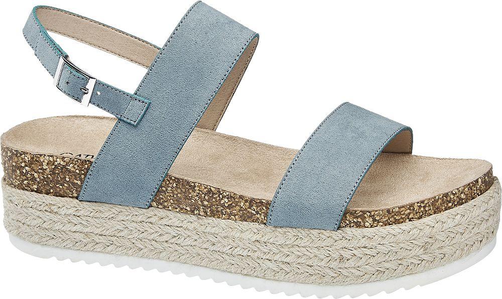 niebieskie sandały damskie Catwalk na platformie