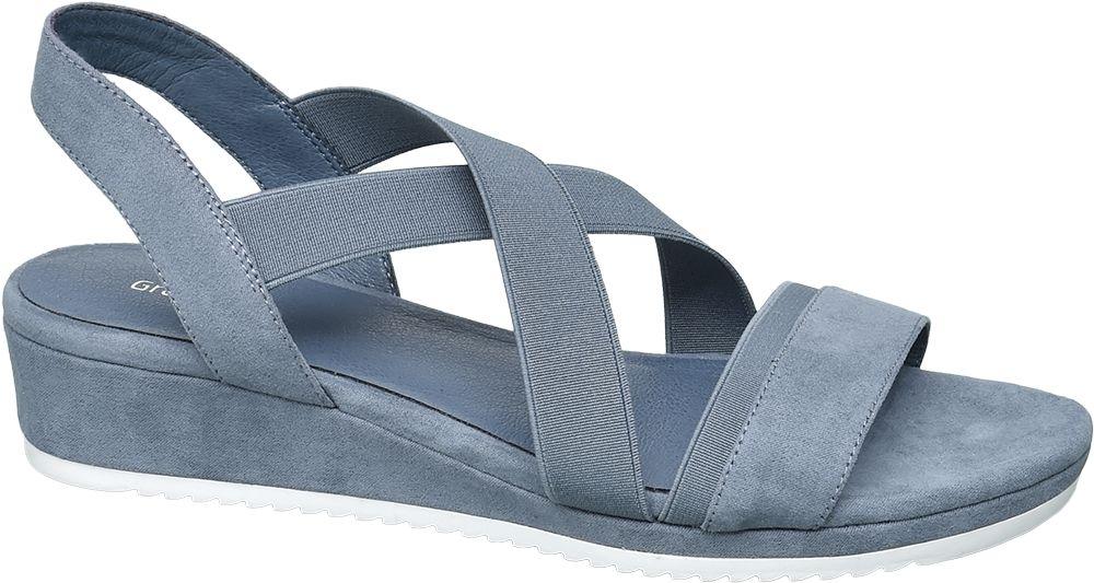 niebieskie sandały damskie Graceland na niskim obcasie