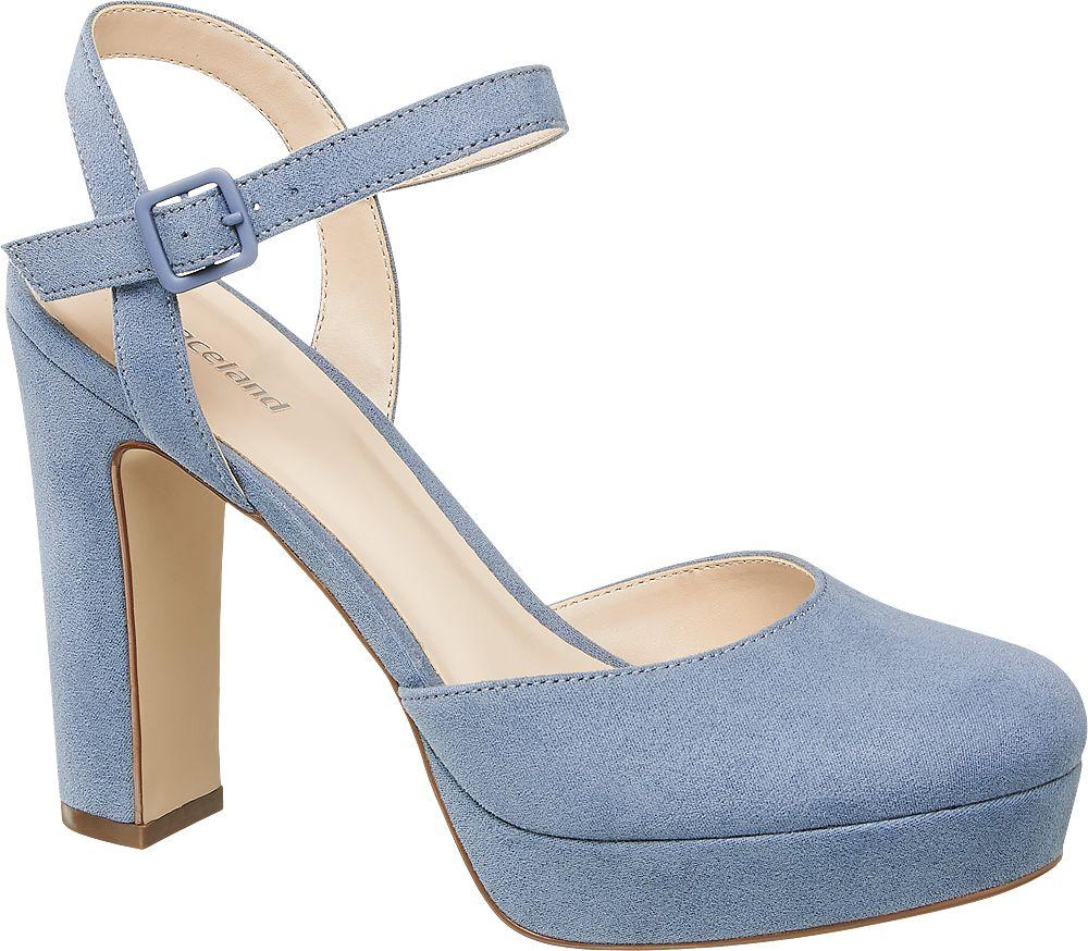 niebieskie sandały damskie Graceland na obcasie
