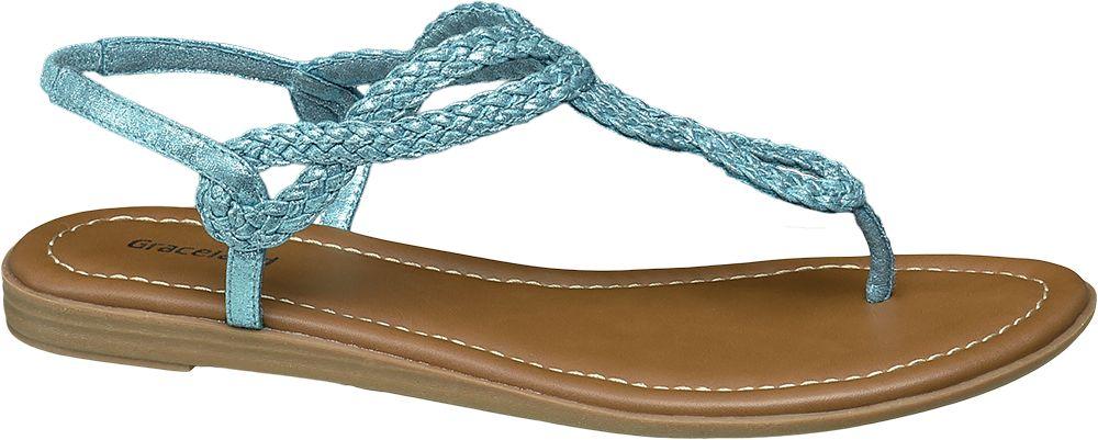 niebieskie sandały damskie Graceland typu japonki