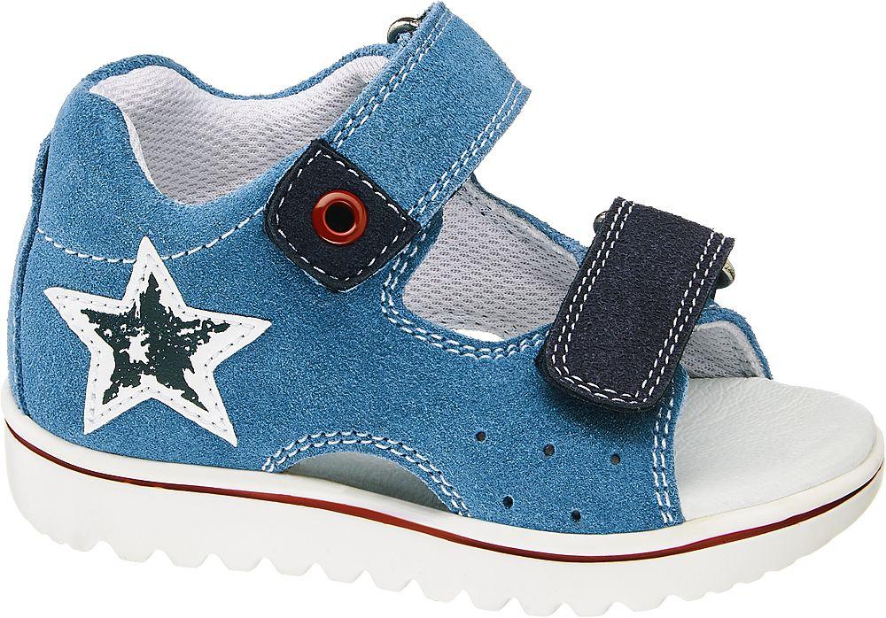 niebiesko-granatowe sandałki chłopięce Bobbi-Shoes na białej podeszwie