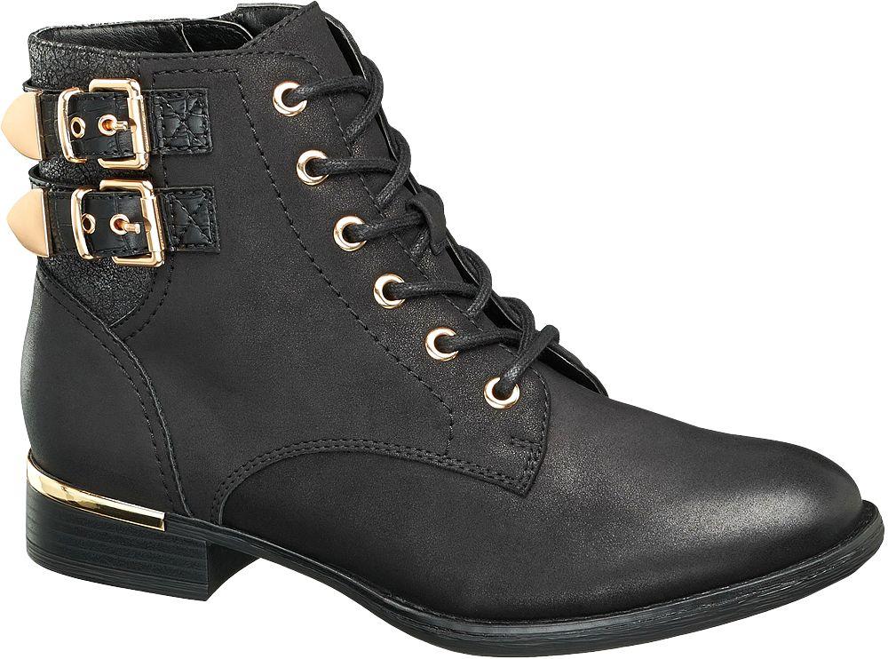 Graceland Šněrovací obuv s přezkami  černá