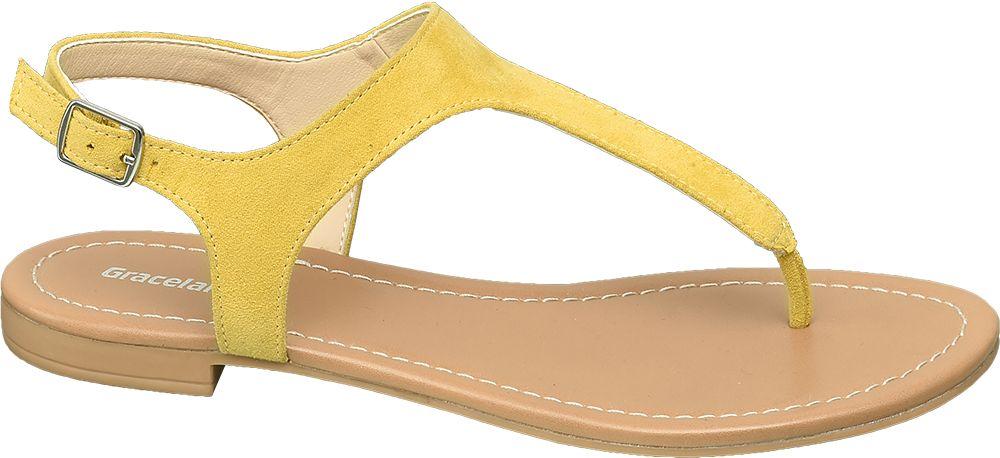 żołte płaskie sandały damskie Graceland typu japonki