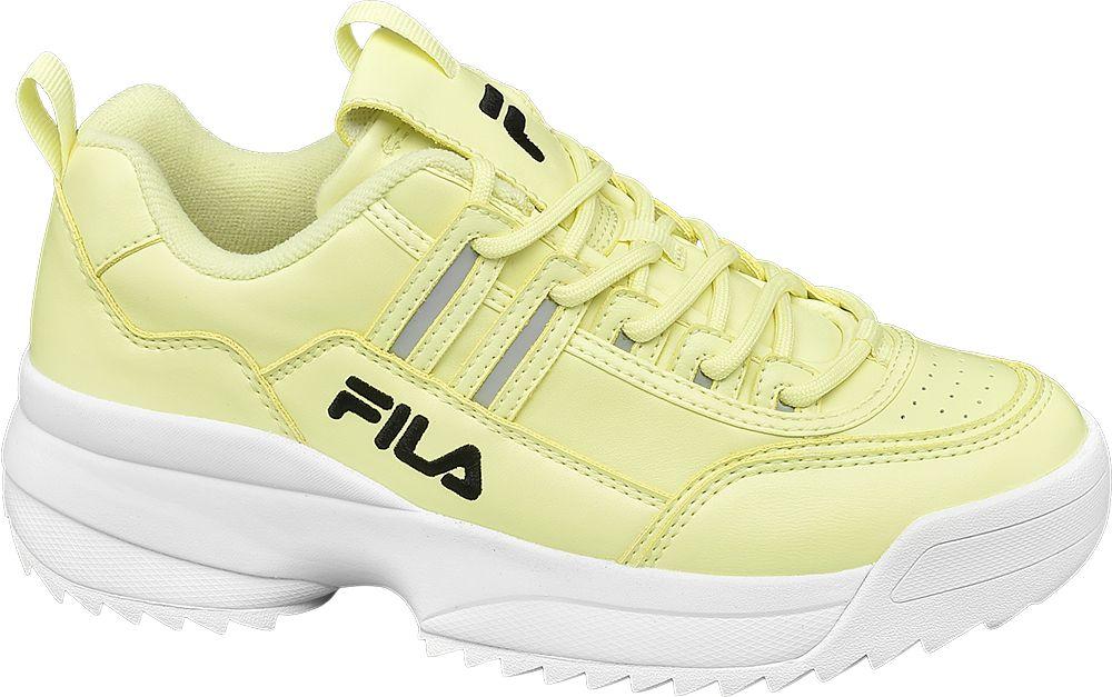 żołte sneakersy damskie Fila na masywnej podeszwie