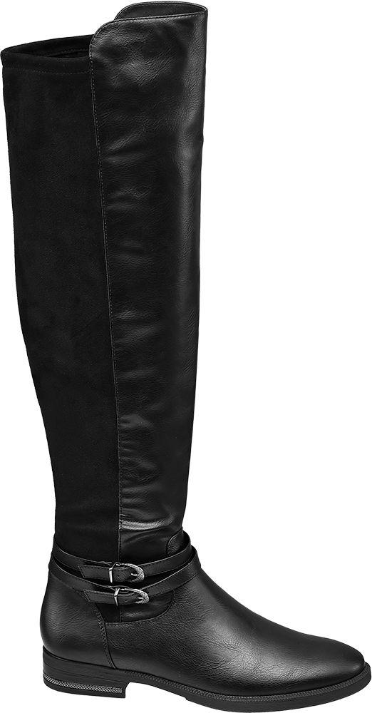płaskie kozaki damskie Graceland za kolano ozdobione paseczkami