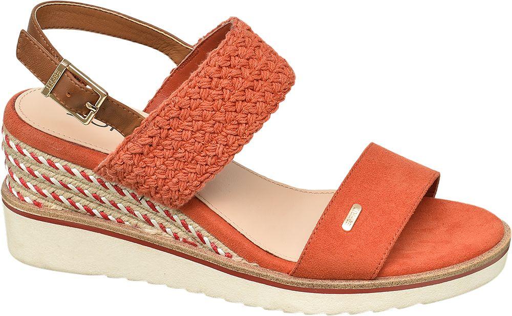 pomarańczowe sandały damskie Esprit na koturnie