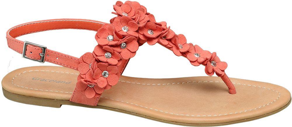 pomarańczowe sandały damskie ozdobione kwiatkami