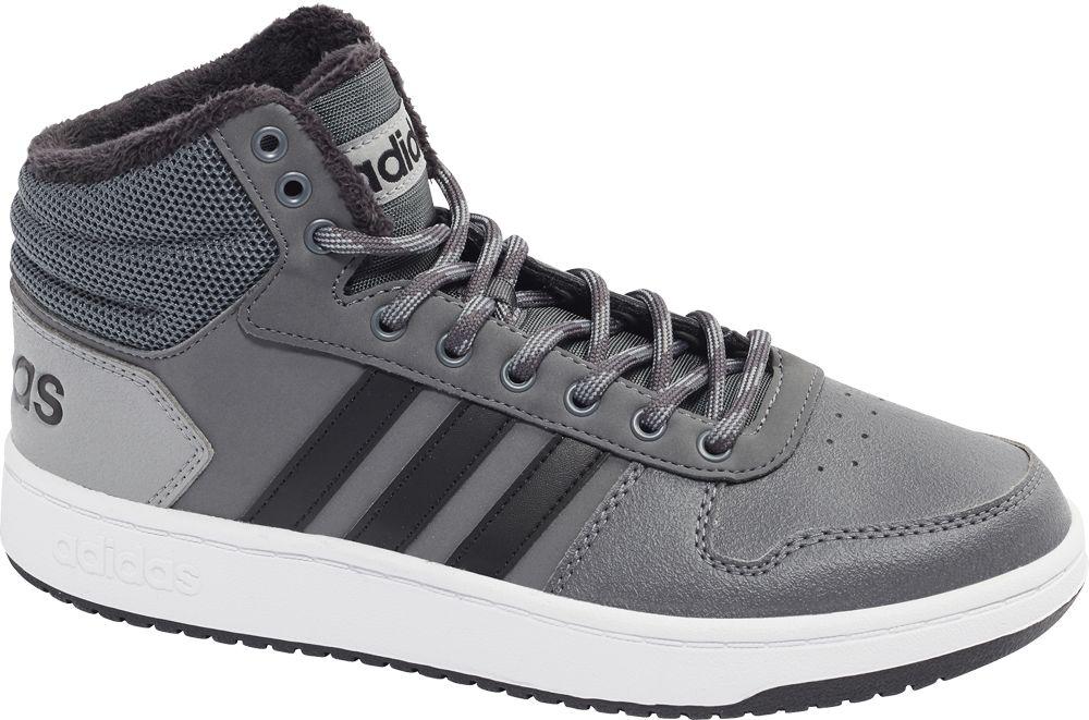 popielate sneakersy męskie adidas Hoops 2.0 Mid