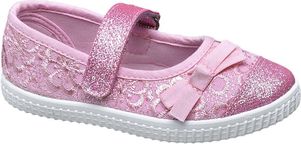 różowe błyszczące kapcie dziewczęce Cupcake Couture z ozdobną kokardką