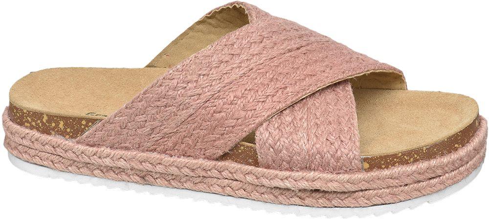 różowe klapki damskie Graceland z szerokimi paskami