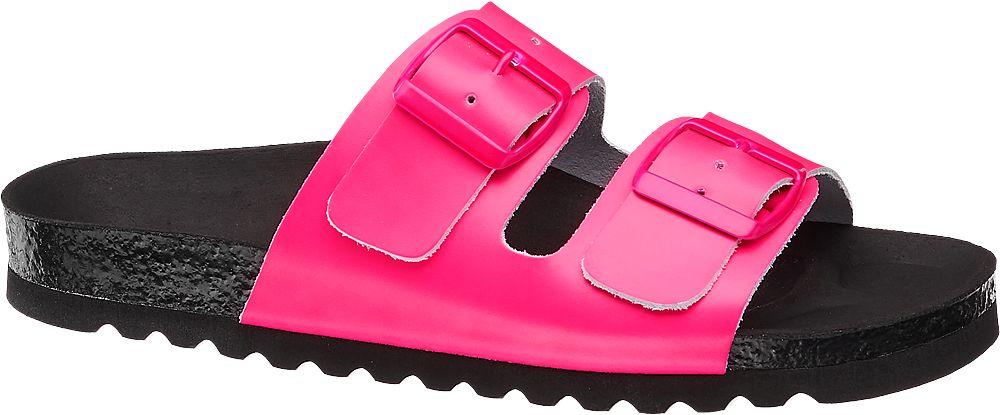 różowe klapki damskie Vero Moda na czarnej podeszwie
