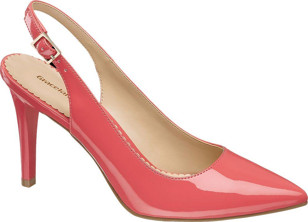 różowe lakierowane szpilki damskie Graceland