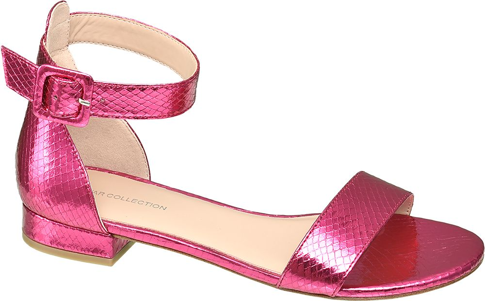 różowe metaliczne sandały damskie Star Collection