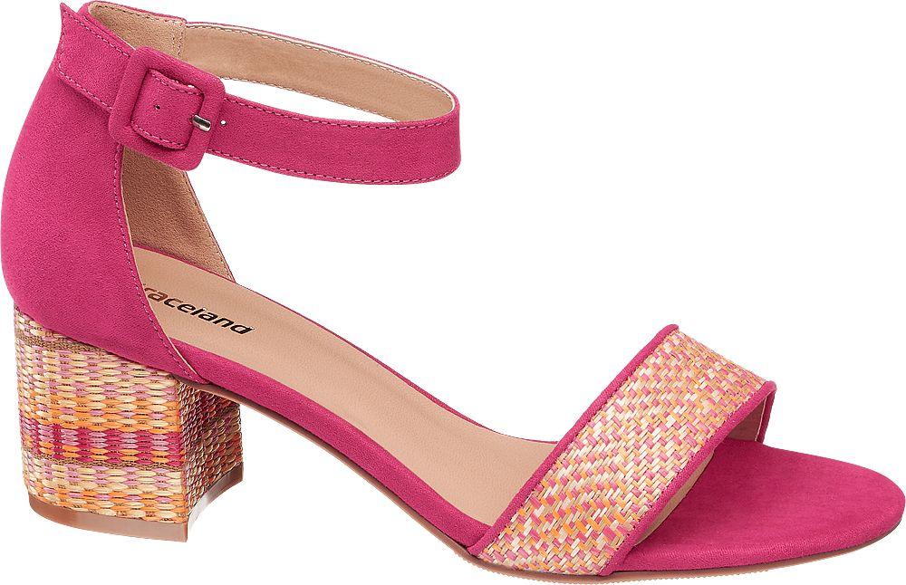 różowe sandałki damskie Graceland na zdobionym obcasie