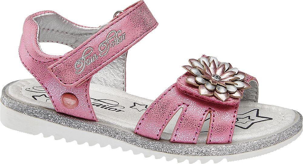 różowe sandałki dziewczęce Tom Tailor z ozdobnym kwiatkiem