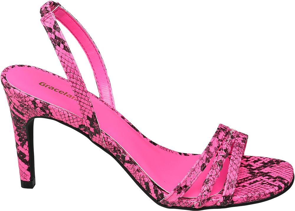 różowe sandały Graceland w wężowy wzór