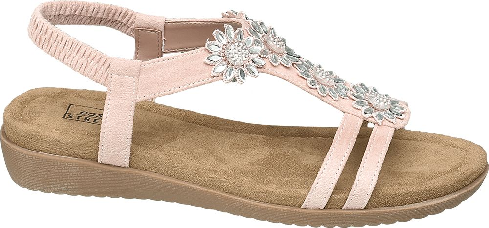 różowe sandały damskie Easy Street ozdobione kwiatkami