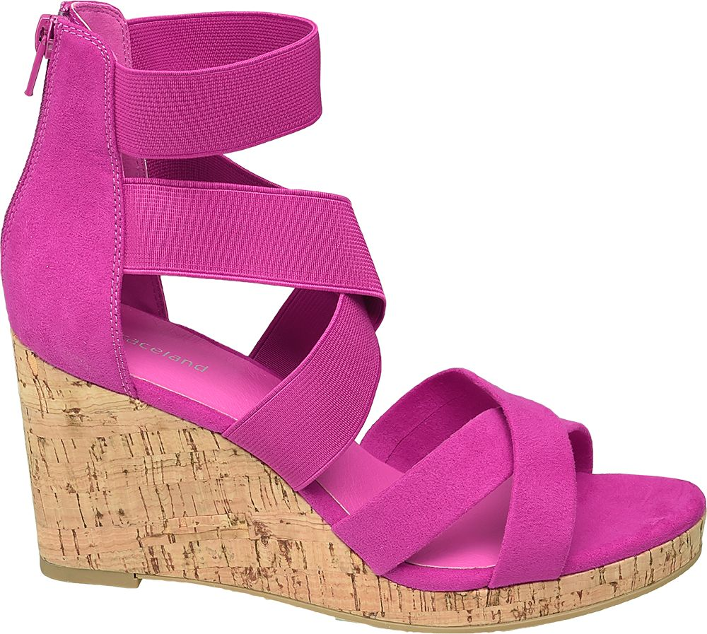 różowe sandały damskie Graceland na koturnie